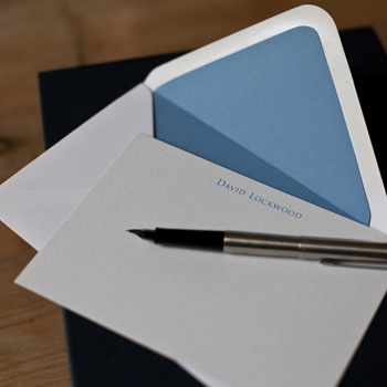 Bloomsbury Blue bespoke card and envelope from CLD stationery
