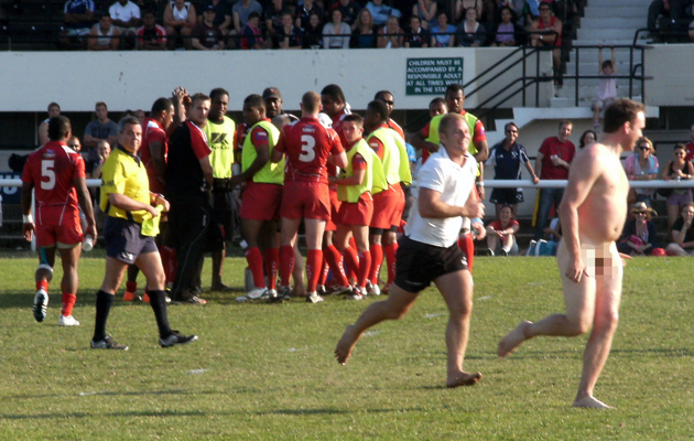 Sporting streakers making a dash at the football