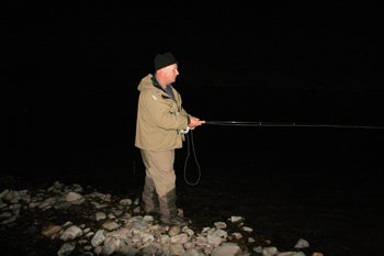 Local fisherman Dave Nelson is not deterred by nightfall