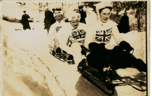 Cresta Run. Edith Freeman on The Behemoth, rode her toboggan with total disregard for her own or anyone else's safety.