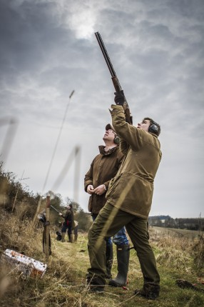 A simulated game shooting day at Highclere castle