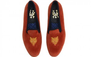 Luxury dress slippers. My Slippers spice velvet with fox's heads are a hit with the hunting crowd.