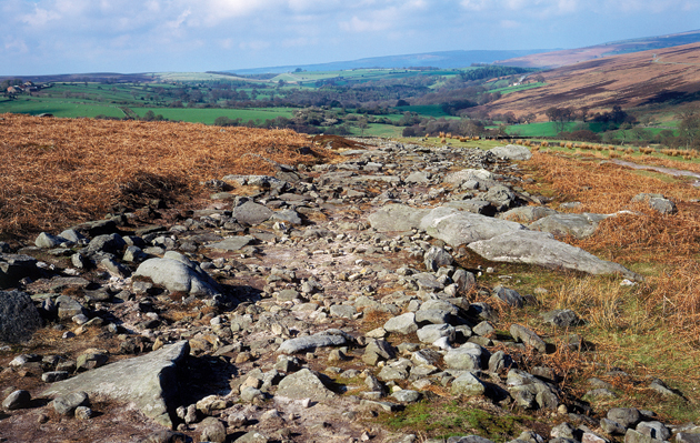 Roman roads. Wade s Causeway the remains of a 5th century Roman road high on Wheedale Moor