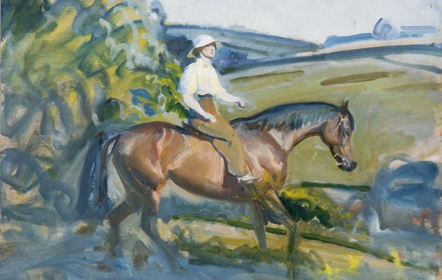 A Lady Riding a Bay Hunter by Sir Alfred Munnings, circa 1924