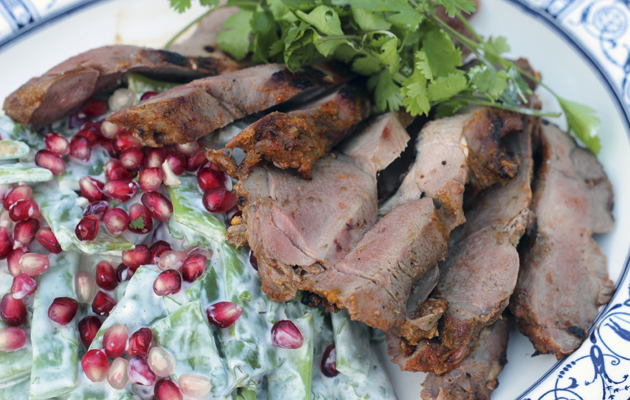 Grilled venison with runner bean, pomegranate and honey salad