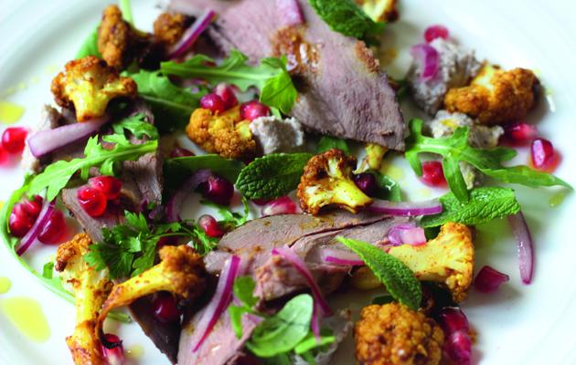 Grouse salad with walnut tarator, roast cauliflower, pomegranate and mint