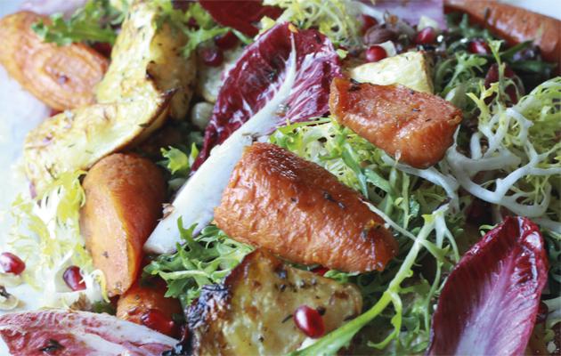 Roasted root vegetable & pomegranate salad.10 best salad recipes.