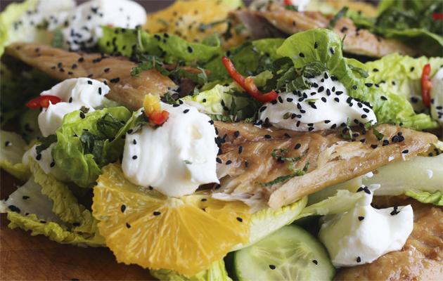 Smoked mackerel, orange and labneh salad.