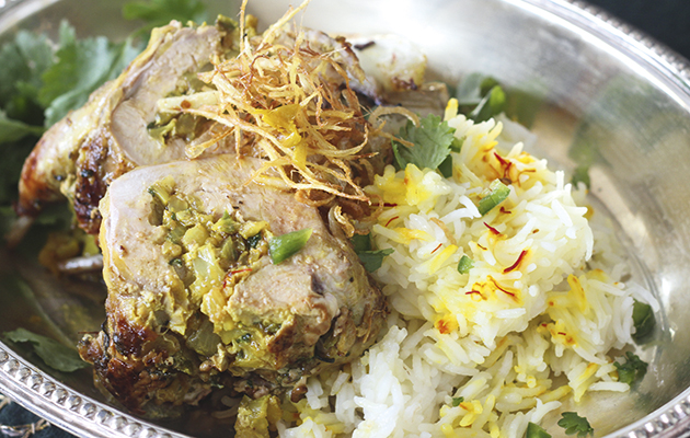Partridge stuffed with ginger, fennel and coriander.