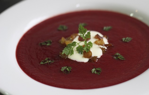 Beetroot, crème frâiche and buttered apple soup