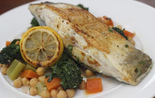 Roast turbot with chickpea stew