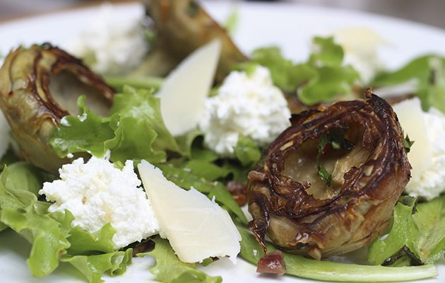 Fried artichoke, anchovy and ricotta salad
