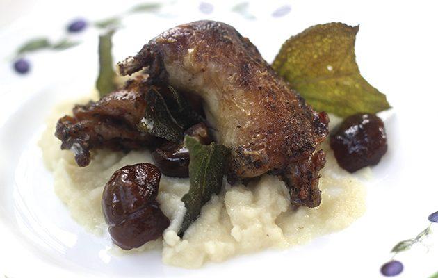 Confit partridge legs with celeriac purée