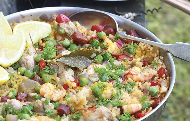 Chorizo, pheasant and prawn paella