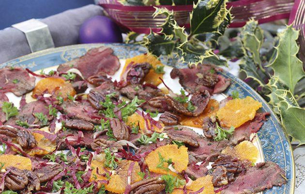 Venison carpaccio, candied pecans and clementine salad