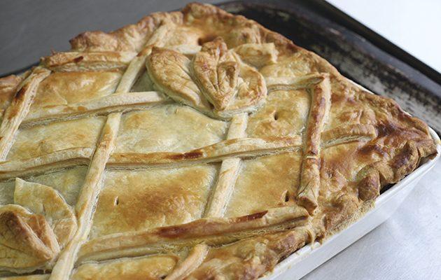 Venison bourguignon pie