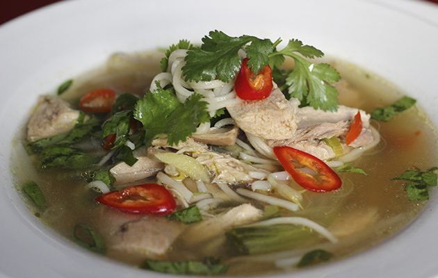 Gamebird broth with noodles