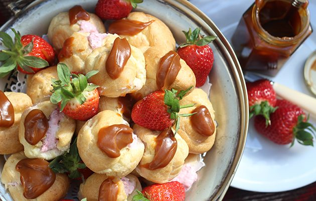 Strawberry and mascarpone profiteroles with salted caramel sauce