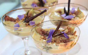 Cinnamon and saffron poached figs with amaretto sabayon