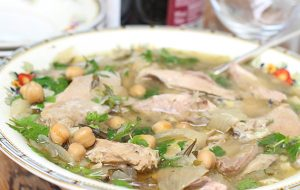 Slow-cooked pheasant with chickpeas Revithia