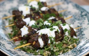 Lebanese grilled venison koftas with tabbouleh salad
