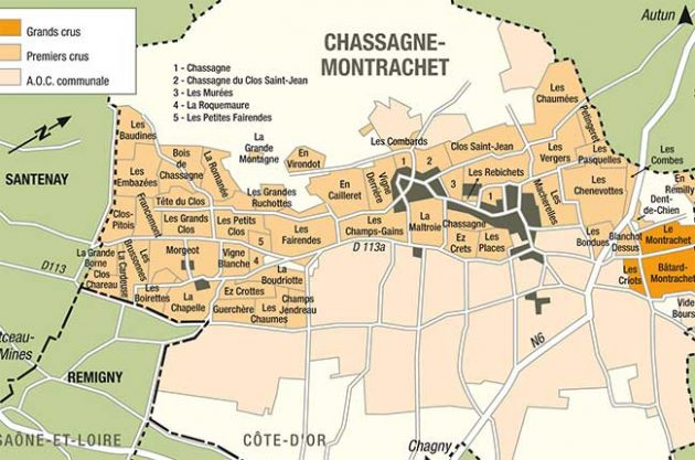 Map of Chassagne-Montrachet, Burgundy
