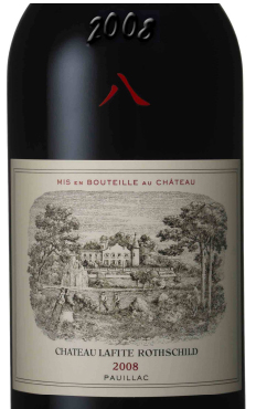 Château Lafite Rothschild 2008 label, stamped with the chinese number 8.