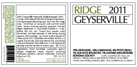 Ridge Geyserville 2011 Label