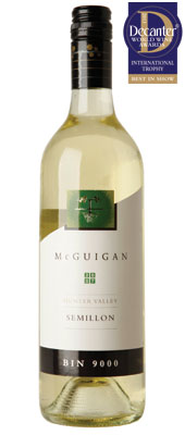 DWWA 2013 International Trophies, McGuigan Bin 9000 Semillon Hunter Valley New South Wales Australia 2007