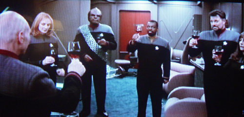 Star Trek drinking red wine