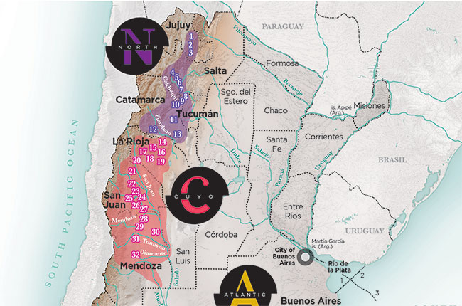Argentina The Ideal Terroir Decanter - Argentina map small
