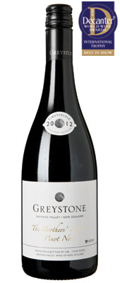 DWWA 14 International Trophy, Greystone The Brothers' Reserve Pinot Noir New Zealand Cante