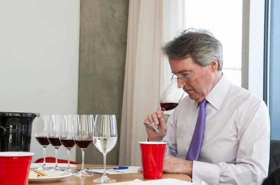 Steven Spurrier tasting wines