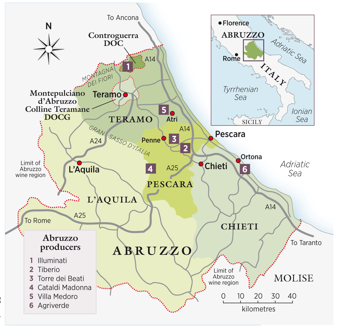 where is abruzzo italy on a map