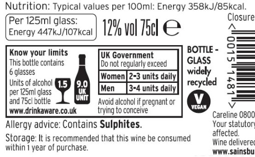 Sainsbury's calorie label