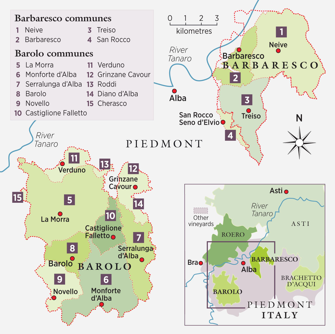 Barolo and Barbaresco map