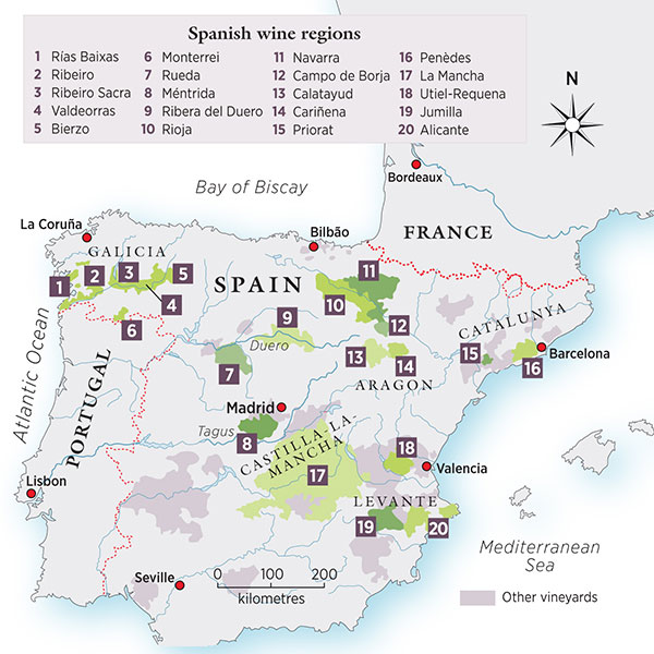 Map Of Spain Vineyards.Spanish Wine Decanter