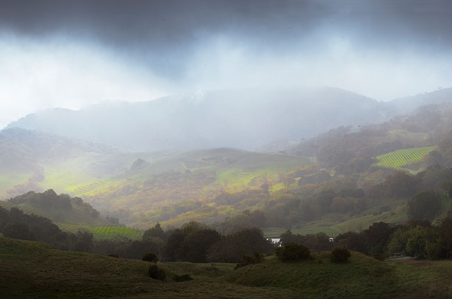 Foggy panorama at Cain