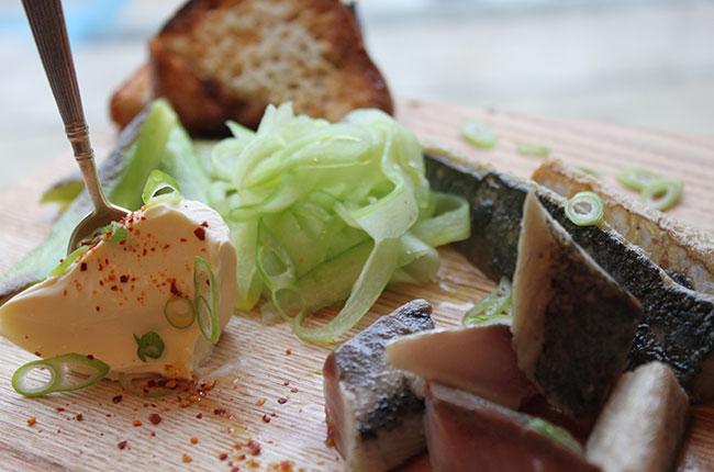 Michel Roux Jr's Mackerel cucumber and paprika tzatziki recipe