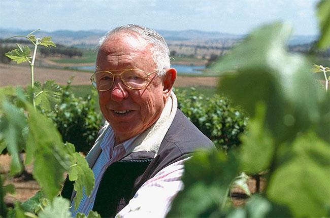 Bob Oatley in the vineyard