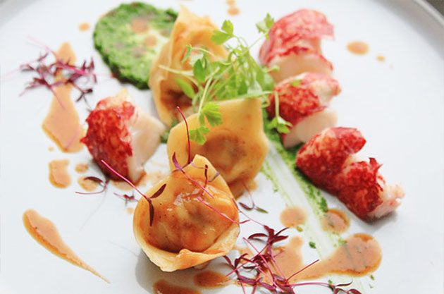 Lobster tortellini and medallions with a parsley condiment and bisque sauce – Recipe by Michel ...