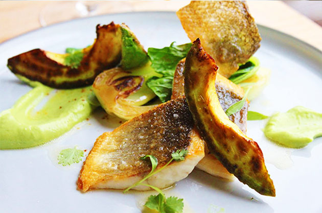 Pan seared Sea bass with avocado