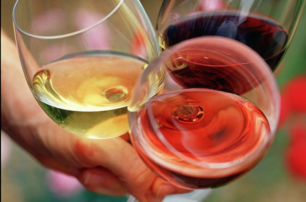 rosé, red and white wine