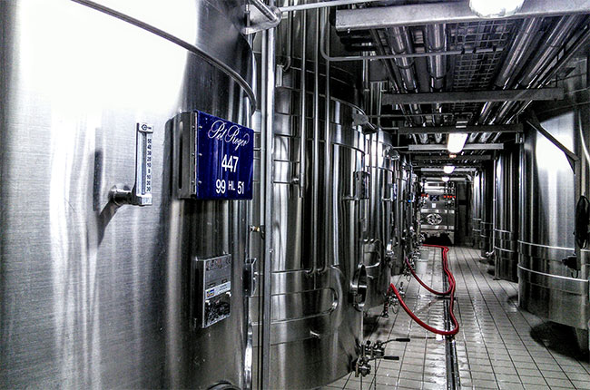 Stainless steel tanks at Pol Roger in Epernay