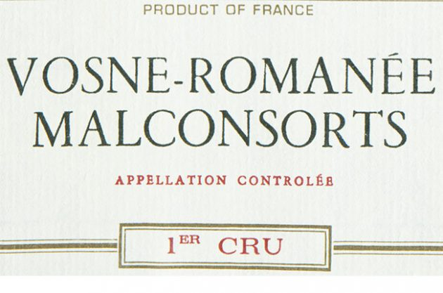 Vosne Romanée Malconsorts wine label