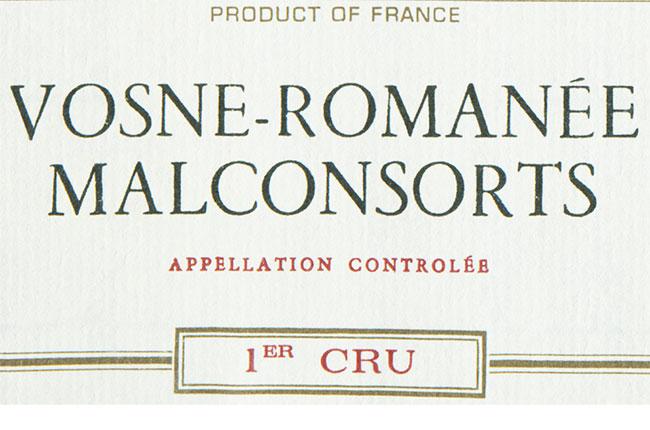 Vosne Romanée Malconsorts wine label