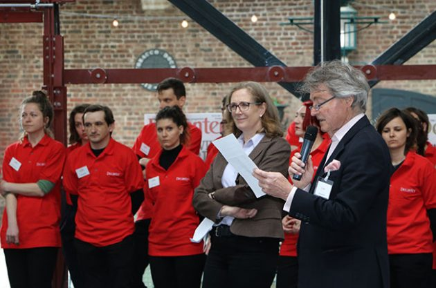 Steven Spurrier, DWWA chairman, and Sarah Kemp, Decanter's managing director, address judges and 'red shirts' on the first morning of DWWA 2016 judging week.