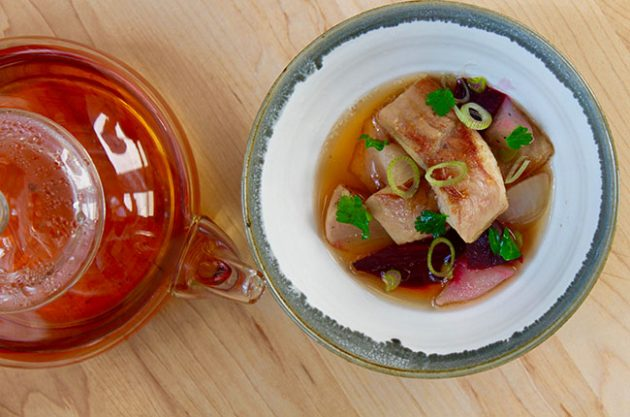 Smoked and roasted eel with tea consommé