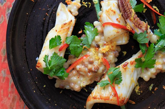 Michel Roux Jr recipe: Squid and fregola risotto.