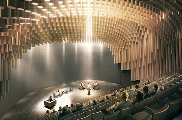An artist's impression of the Thomas Jefferson Auditorium at Bordeaux's Cité du Vin.